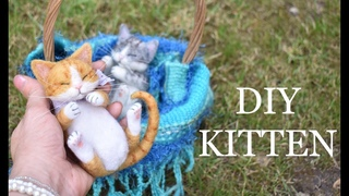 DIY Needle Felt Cute Sleeping Kitten - cat Tutorial - craft project