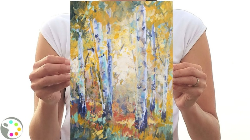 How to Paint with Acrylics | Autumn Aspen Tree Painting Tutorial