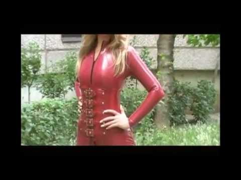 Brigi Metallic red latex catsuit