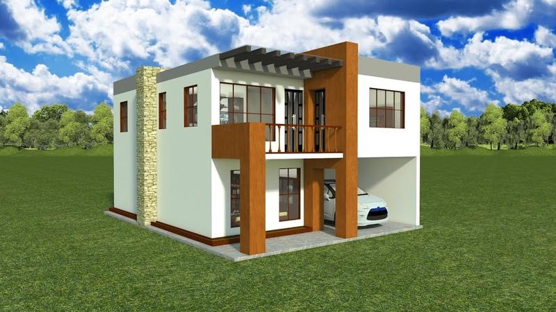 Planos casa moderna 2 pisos 3 dormitorios 2 baños 2 salas comedorcocina lavandería garaje 1 carro
