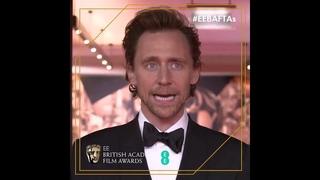 Tom Hiddleston backstage interview at EEBAFTAs -
