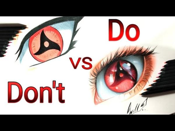 DON'T VS DO How to draw anime eyes (ITACHI) MANGEKYOU SHARINGAN DRAWING