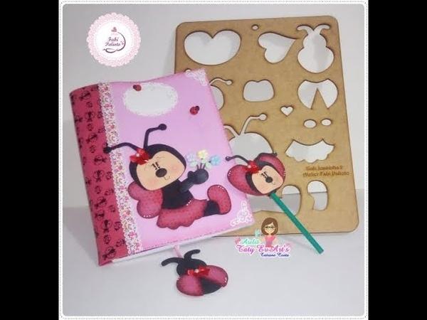 🐞Capa de caderno removível de Joaninha marca página e ponteira 🐞