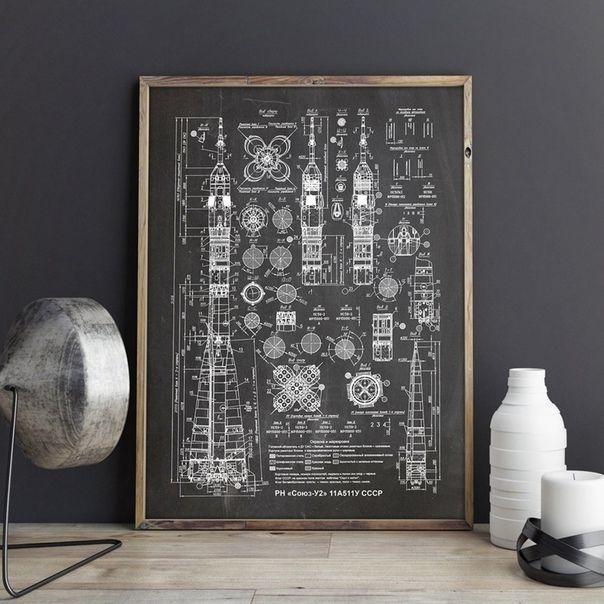 Плакат на холсте со схемой ракеты-носителя Союз-2 -