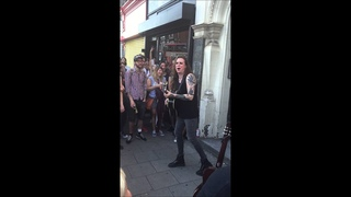 Laura Jane Grace of Against Me!, playing Teenage Anarchist outside Lion Records, Clapton