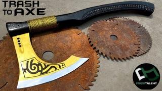 RUSTED Wood Cutting SAW Blade Turned into a Razor Sharp WAR AXE