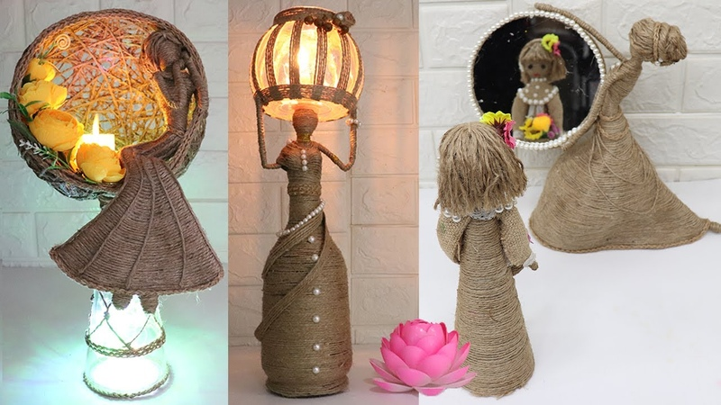 5 Beautiful Jute craft doll How to decorate doll with jute