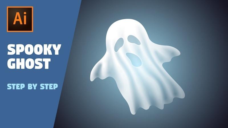 Halloween Spooky Ghost | Illustrator CC Tutorial (Freeform Gradient)
