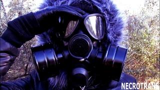 Black ski overalls and black tinted gas masks. Gas mask PMK-2, S-10, Om-90 (CM-7M), GP-18, M-65