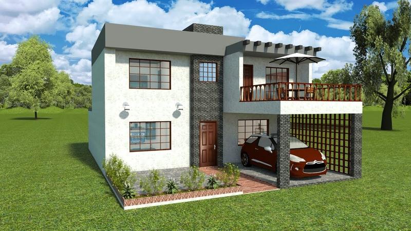 Planos de Una Casa Moderna de Dos Plantas con Tres Dormitorios 2 Baños Garaje y Terraza en 10x15 Mts