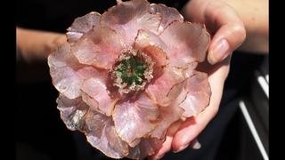 Polymer clay jewelry vitreous flower peony tutorial|Clay peony|Transparent DIY Polymer clay+UV resin