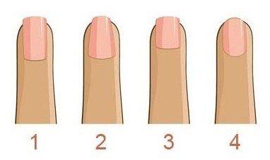 КАК ПОДОБРАТЬ ФОРМУ НОГТЕЙ А) Квадратная. Эта форма подойдет тем женщинам, у которых от природу длинные пальцы, так как она образно укорачивает их длину. При подпиливании здесь следует держать
