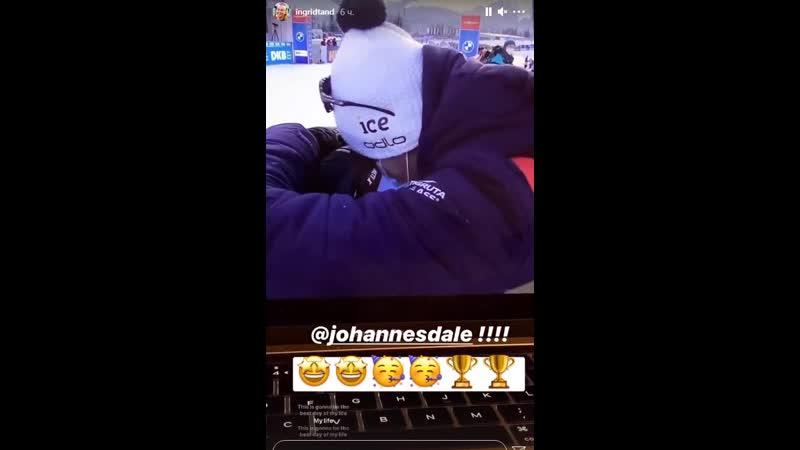 Эмоции Йоханнеса Дале после победы в спринте на км в Хохфильцене 2020