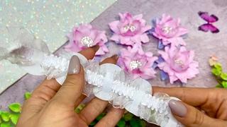 Какие Цветы из фоамирана получились 😍 резинка на пучок / украшение на гульку