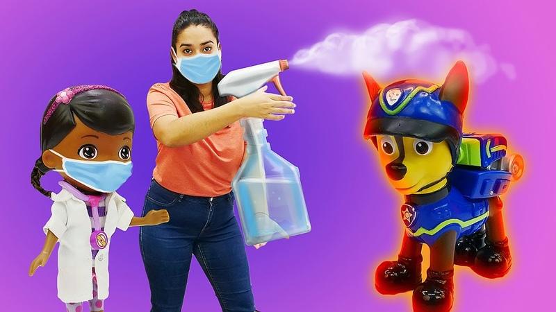 Lustige Schule für Kinder Chase von der Paw Patrol ist krank Spielzeug Video auf Deutsch