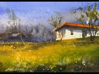 How to paint urban space in watercolor painting demo by javid tabatabaei