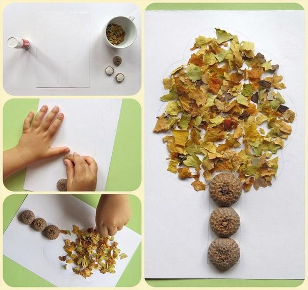 Поделки. Дерево из сушеных листьев. Заклеиваем контур дерева осенними природными материалами. У нас шляпки желудей с пластилином внутри и крошка сухих листьев на клей, но подойдет все, что
