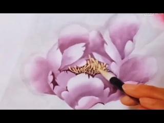 國畵牡丹 漂亮粉色牡丹花 pink peonies flowers painting