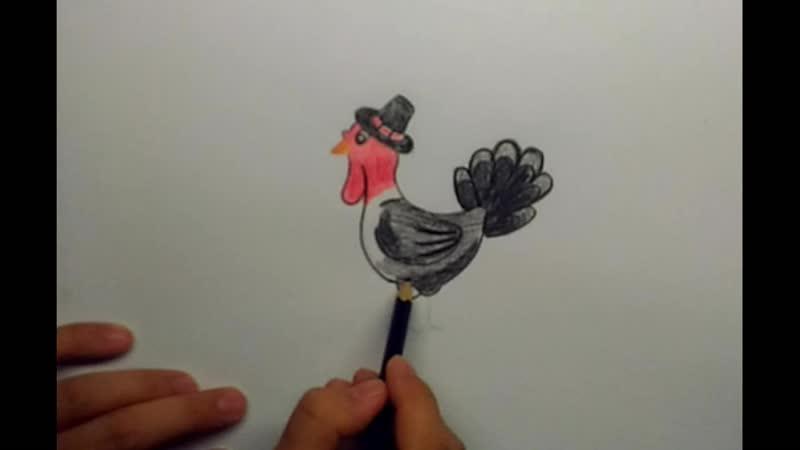 Как нарисовать мультяшного индюка