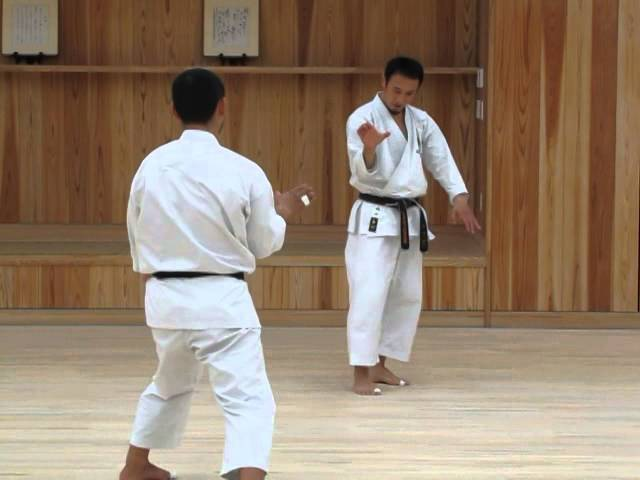 Kai-sensei demonstrating kata Hangetsu
