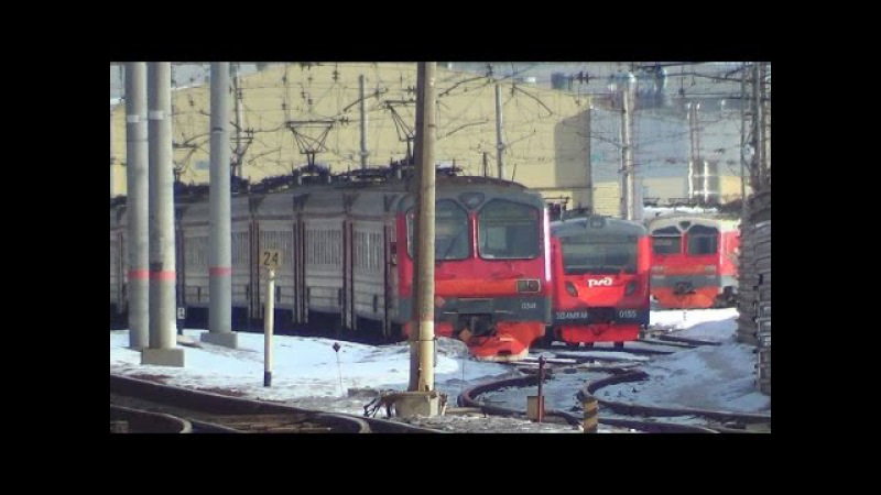 Электропоезда на отдыхе ЭД4М-0347, ЭД4М-0358, ЭД4М-0341 и ЭД4МКМ-0155