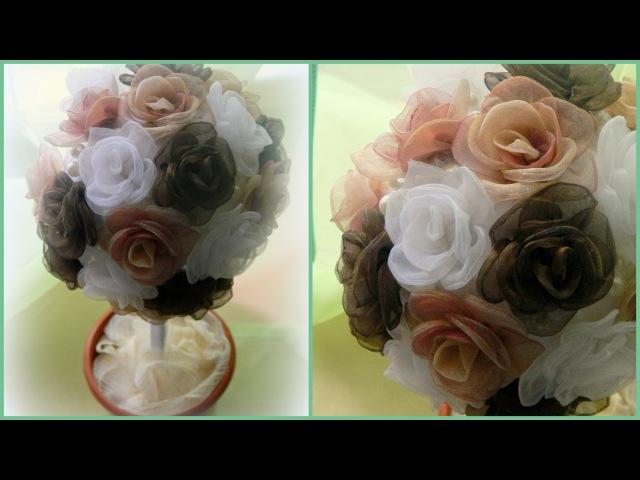 Топиарий своими руками Роза из ткани Topiary with your own hands A rose made of cloth