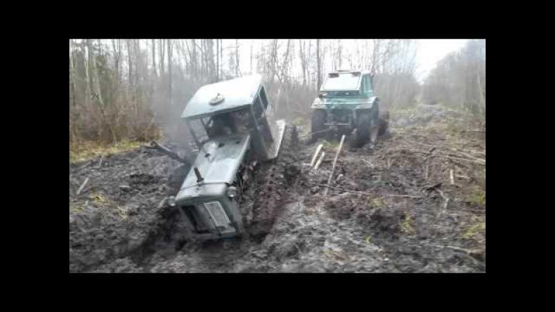 самовытаскивание трактора ХТЗ т74 при помощи бревна и МТЗ 82 часть 1