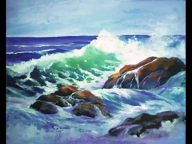 How to Paint a Translucent Ocean Wave on the Rocks Part 1 - Ginger Cook's Master Class Painting