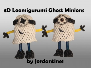 New 3D Ghost Minion - Loomigurumi / Amigurumi - Rainbow Loom - Hook Only - Rubber Band Crochet