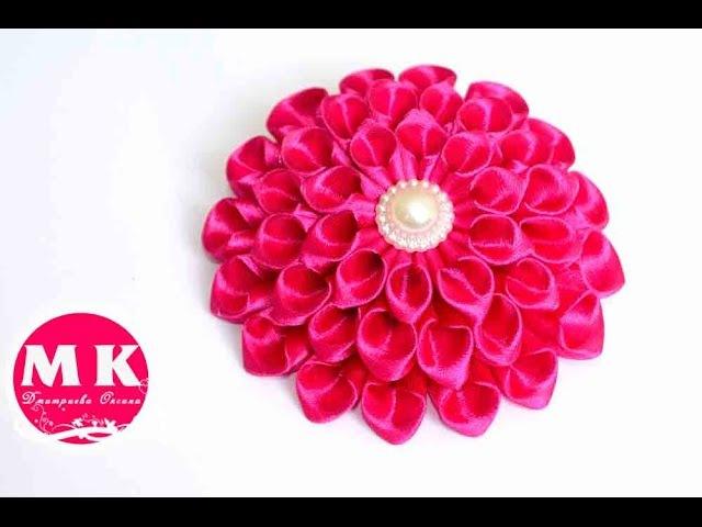 Мастер класс Канзаши Цветы из лент Резинка для волос Георгин Канзаши Scrunchy Dahlias Kanzashi