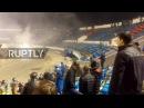 Россия Столкновение футбольных хулиганов как Динамо Москва играет Факел Воронеж