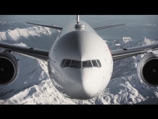 Fabulous views of the new swiss boeing 777 above swiss alps