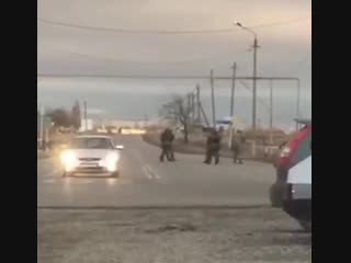 Момент вчерашнего подрыва  смертницы в Грозном