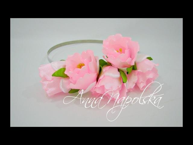 Обруч з тюльпанами. Ободок с тюльпанами своими руками. Headband kanzashi