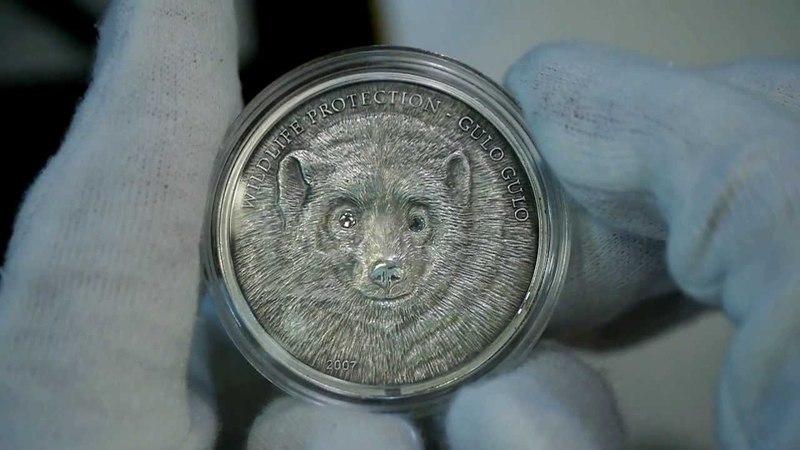 Mongolia 2007 Silver 500 Togrog Wolverine Gulo Gulo Silver Coin