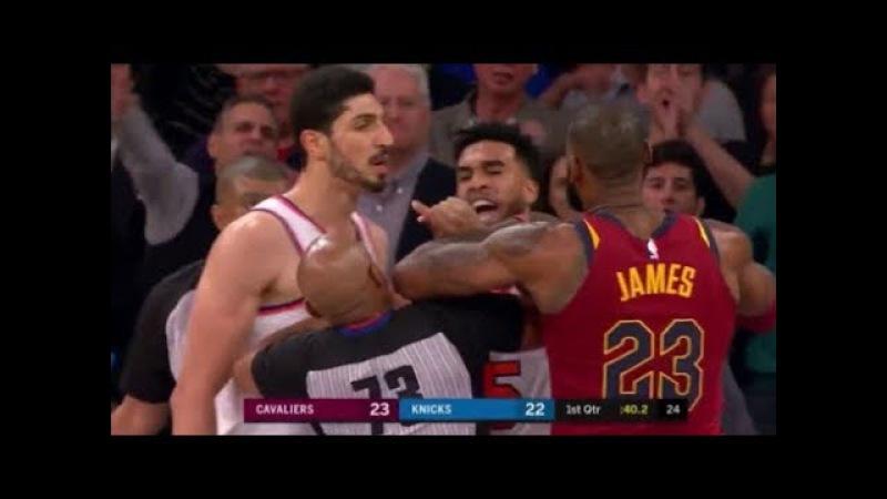 LeBron James vs Frank Ntilikina and Enes Kanter LeBron mocks Ntilikina