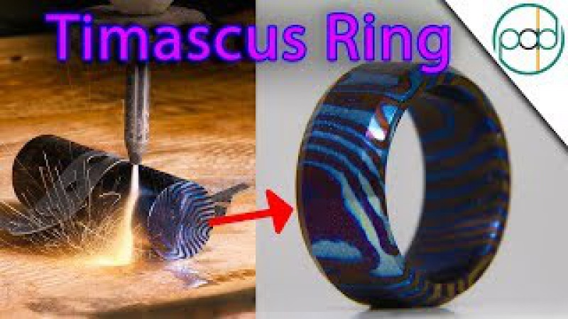 Making a Timascus Ring and Flame Anodizing it Damascus Steel made out of Titanium