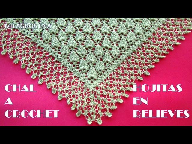 Chal triangular a crochet HOJAS PEQUEÑAS EN RELIEVES paso a paso en video tutorial