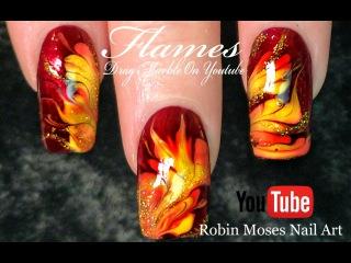 No Water Needed - Fall Flames DIY Drag Marble nail art Tutorial