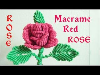 DIY Macrame RED ROSE FLOWER tutorial in hindi/MACRAME FLOWER