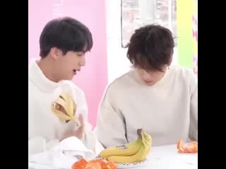 The way seokjin aggressively opened the banana that it fell and he's just really out there laughing at his headcracksy ndns