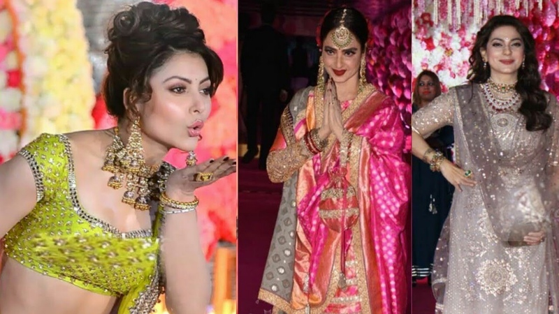 Urvashi Rautela, Rekha, Juhi Chawla At Azhar Morani Wedding Reception
