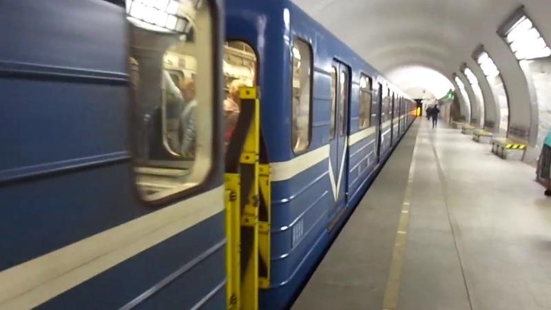 Метропоезд Санкт-Петербурга 9-166: метровагон 81-714 (ЛВЗ), б. 7948 - 2 линия (№214) (27.06.19)