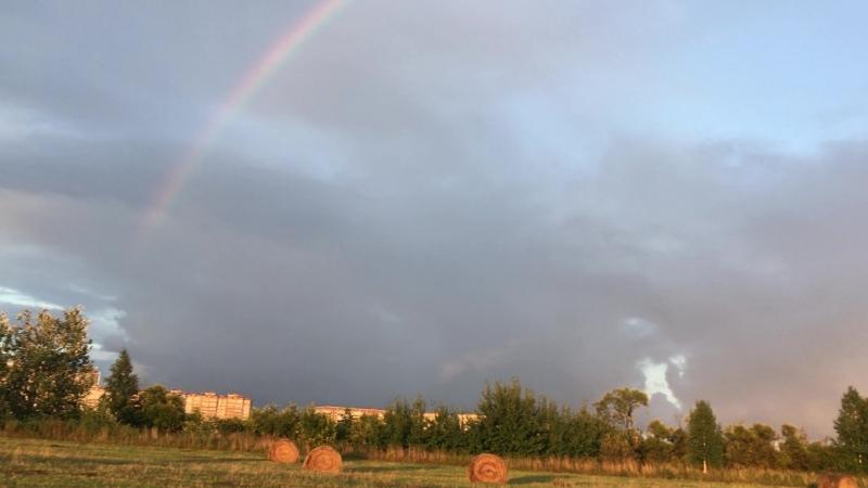 Радуга После дождя Закат радуга радуга🌈 назакате закат природа поле россия красота