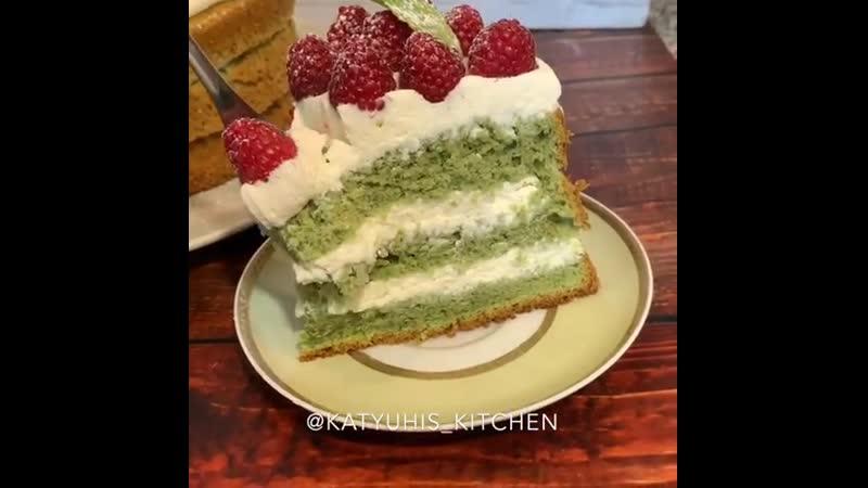 Торт с мятным бисквитом