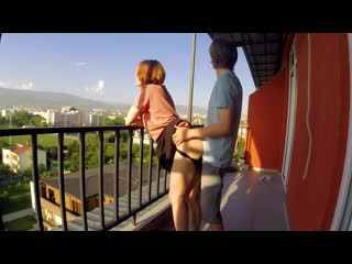 Public sex on balcony. neighbors were delighted semulv beautiful babes