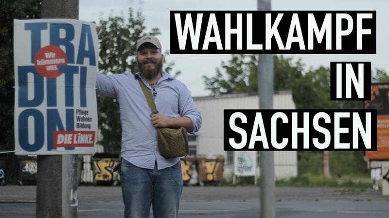 Wahlkampf in Sachsen   AFD/ SPD/ SED/ FDP/ Grüne Wahlplakate im Vergleich