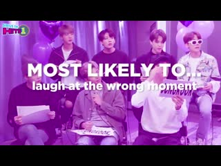"""190803 (190522) bts played the """"most likely to…"""" game @ siriusxm"""