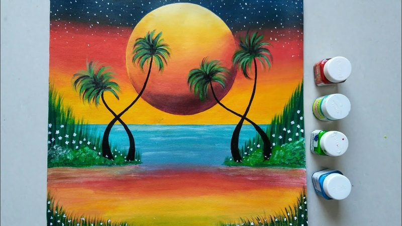 Easy Sunset Acrylic painting for beginners ||Coconut Tree in sunset || Lagoon sunset Painting ||