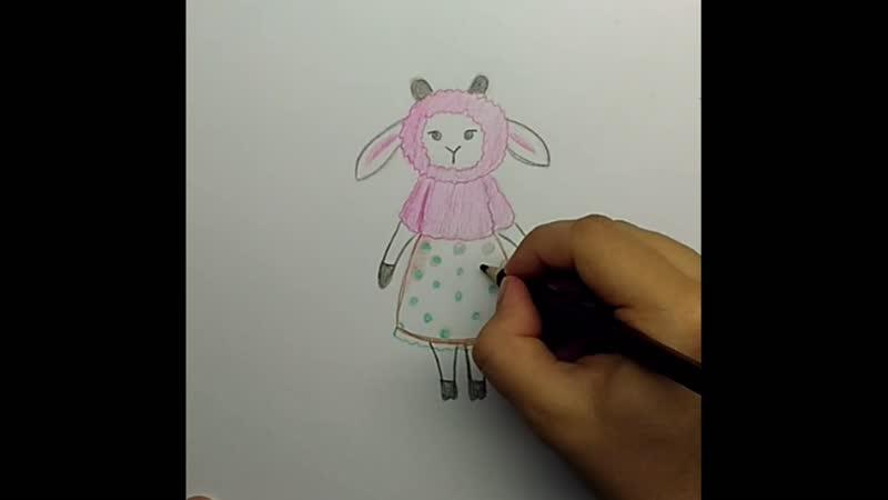 Как нарисовать мультяшную козу